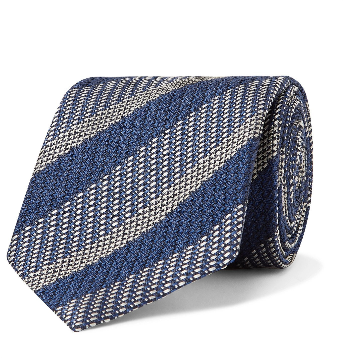 Photo: BRIONI - 8cm Striped Silk-Jacquard Tie - Blue