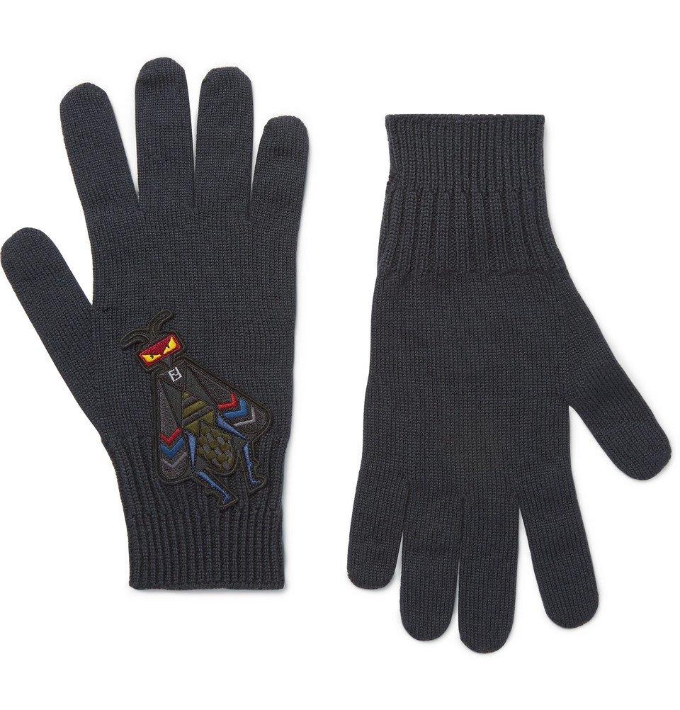 Photo: Fendi - Bag Bugs Appliquéd Wool Gloves - Men - Gray