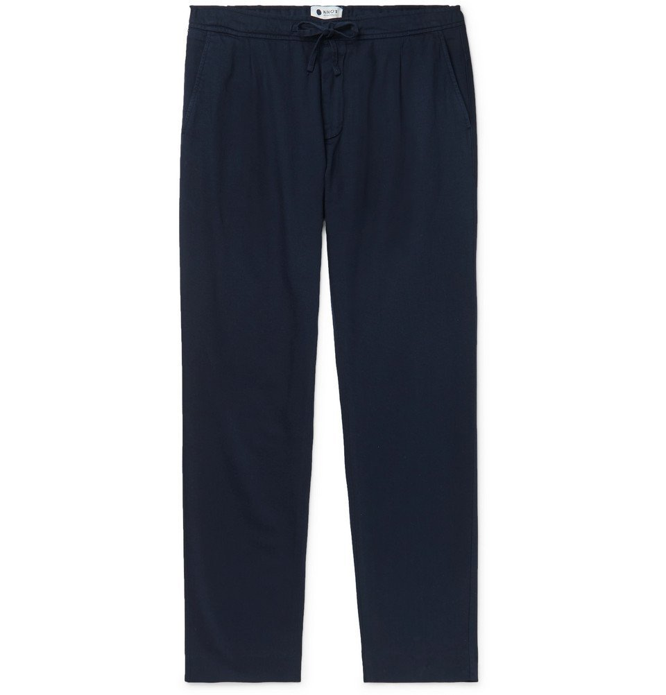 Photo: NN07 - Domenico Tapered Pleated Cotton, Lyocell and Linen-Blend Drawstring Trousers - Navy