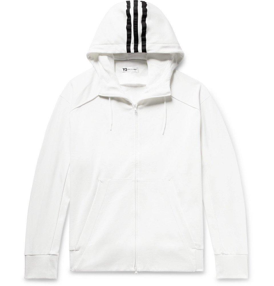 Y-3 - Logo-Print Loopback Cotton-Jersey Zip-Up Hoodie - Men - White