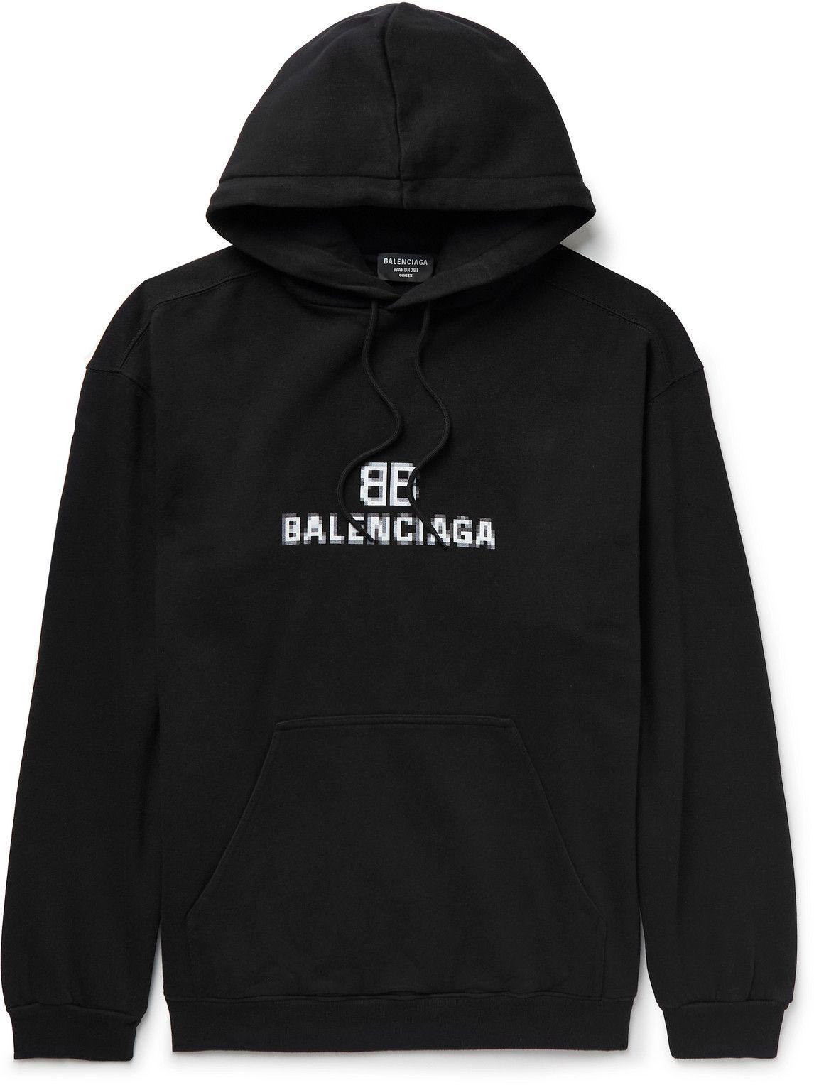 Photo: Balenciaga - Logo-Print Cotton-Jersey Hoodie - Black