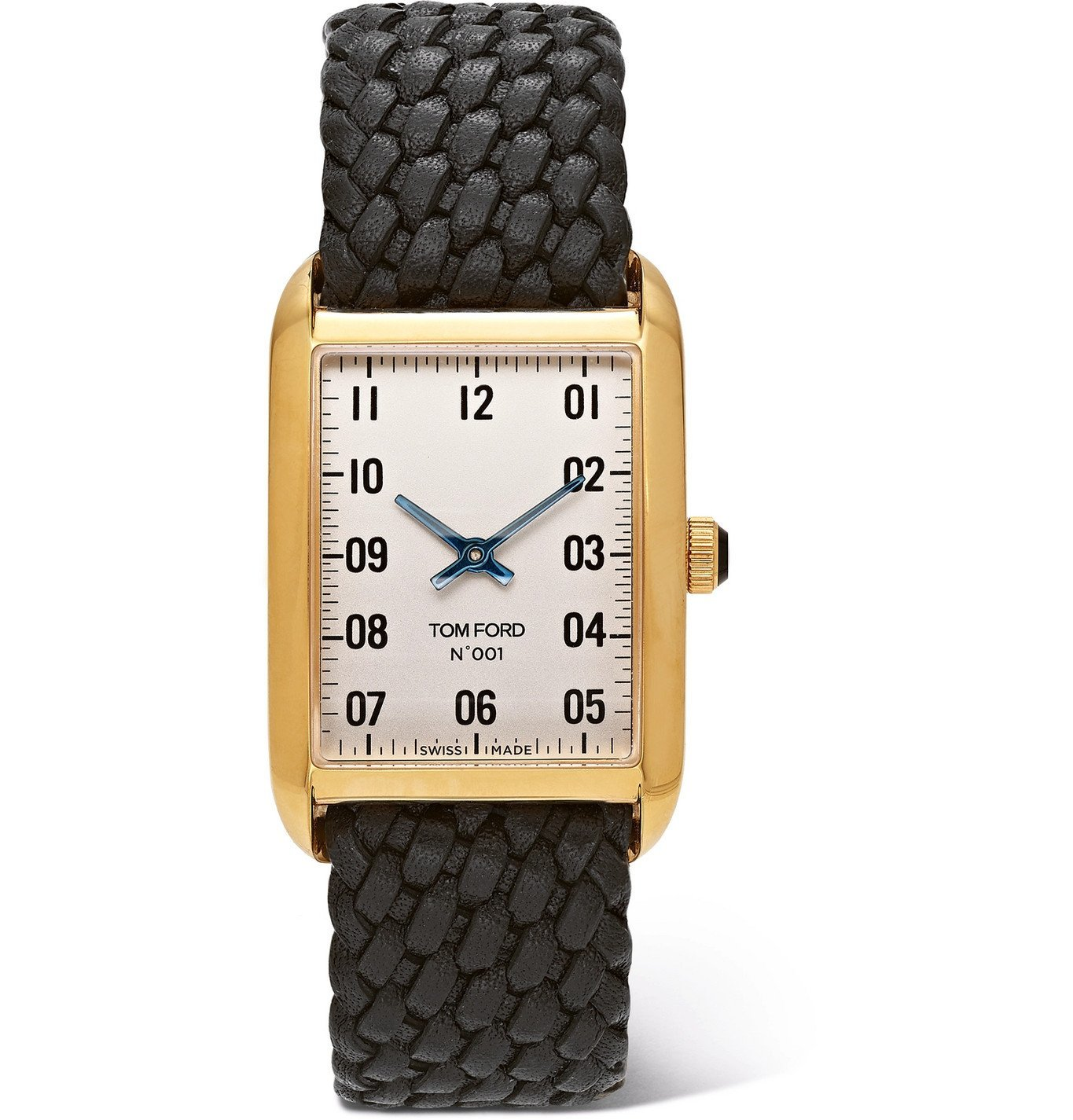 Photo: Tom Ford Timepieces - 001 18-Karat Gold and Woven Leather Watch - White