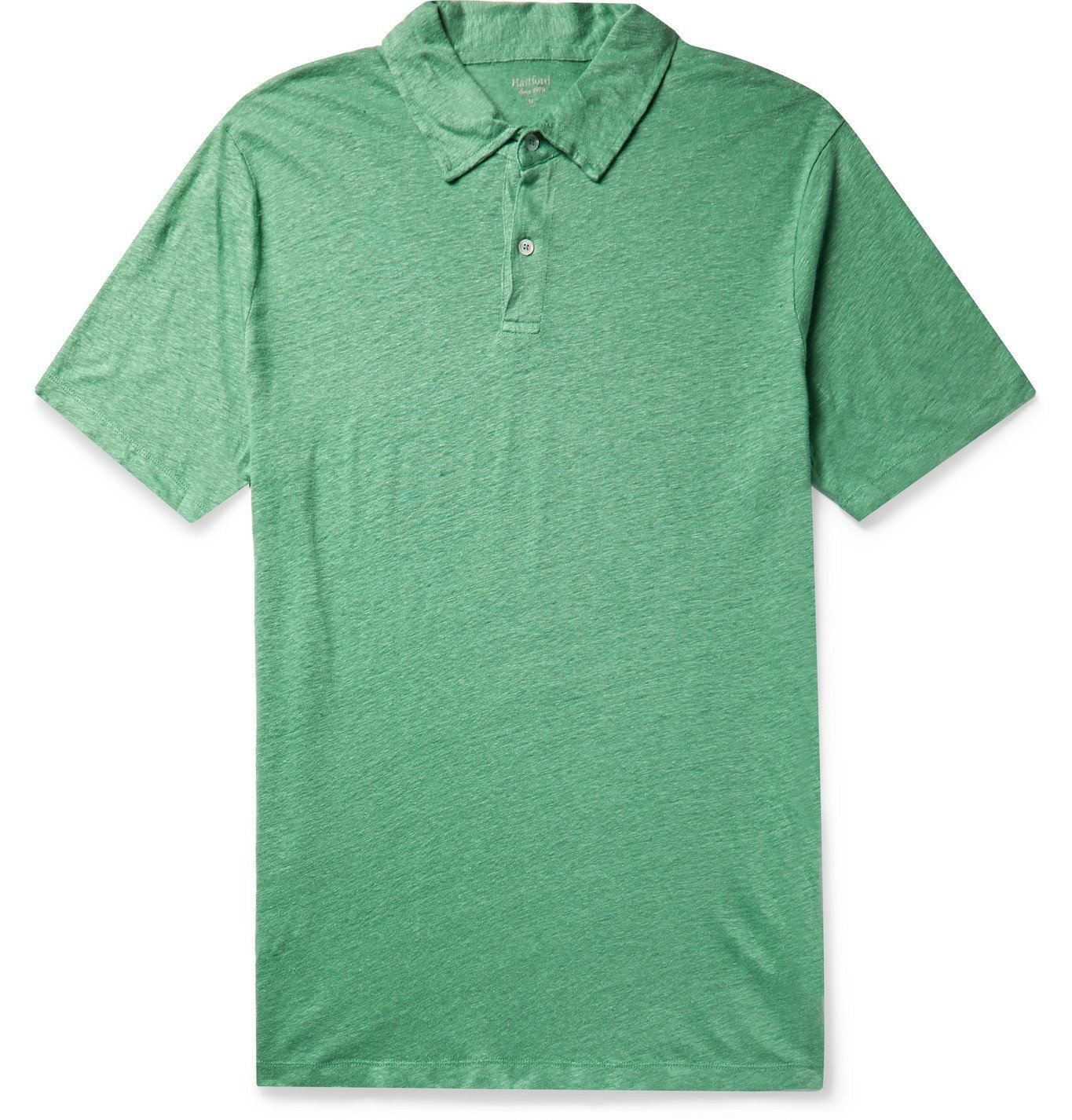 Photo: Hartford - Slub Linen Polo Shirt - Green