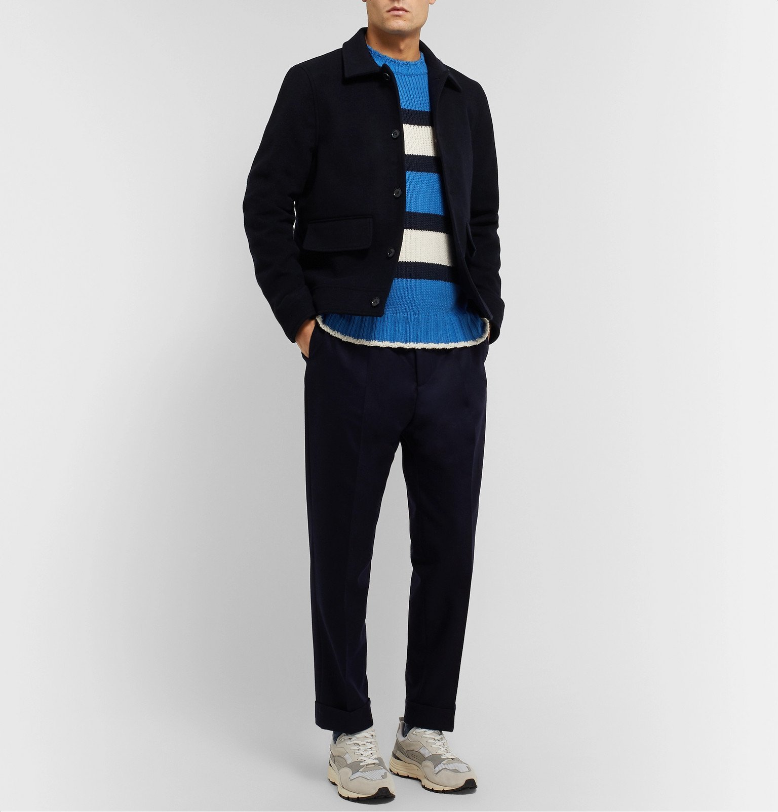 Officine Generale - Striped Cotton-Blend Sweater - Blue