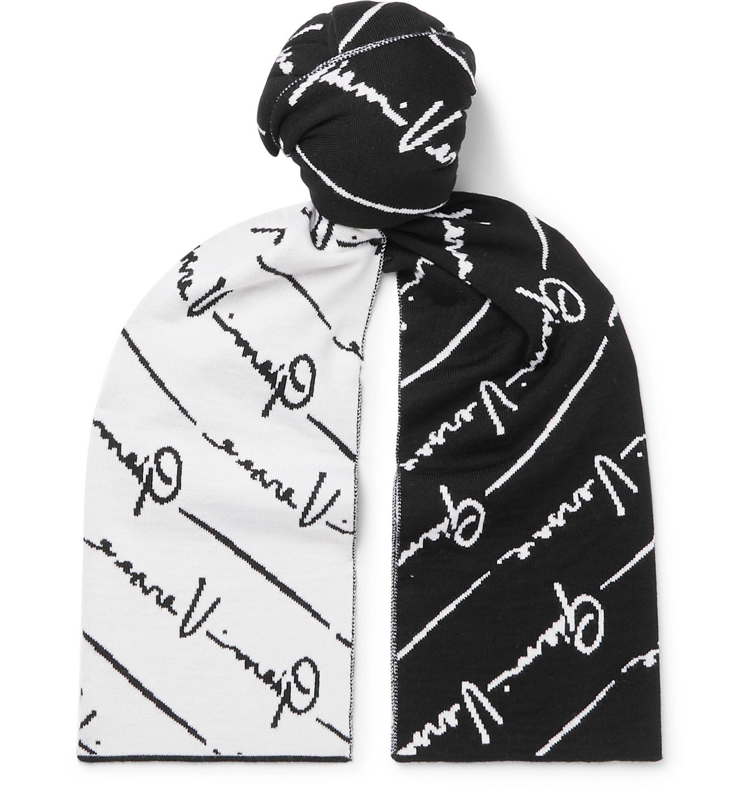 Photo: Versace - Logo-Jacquard Wool Scarf - Black