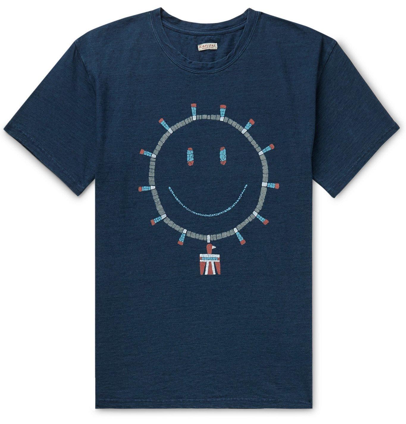 Photo: KAPITAL - Printed Cotton-Jersey T-Shirt - Blue
