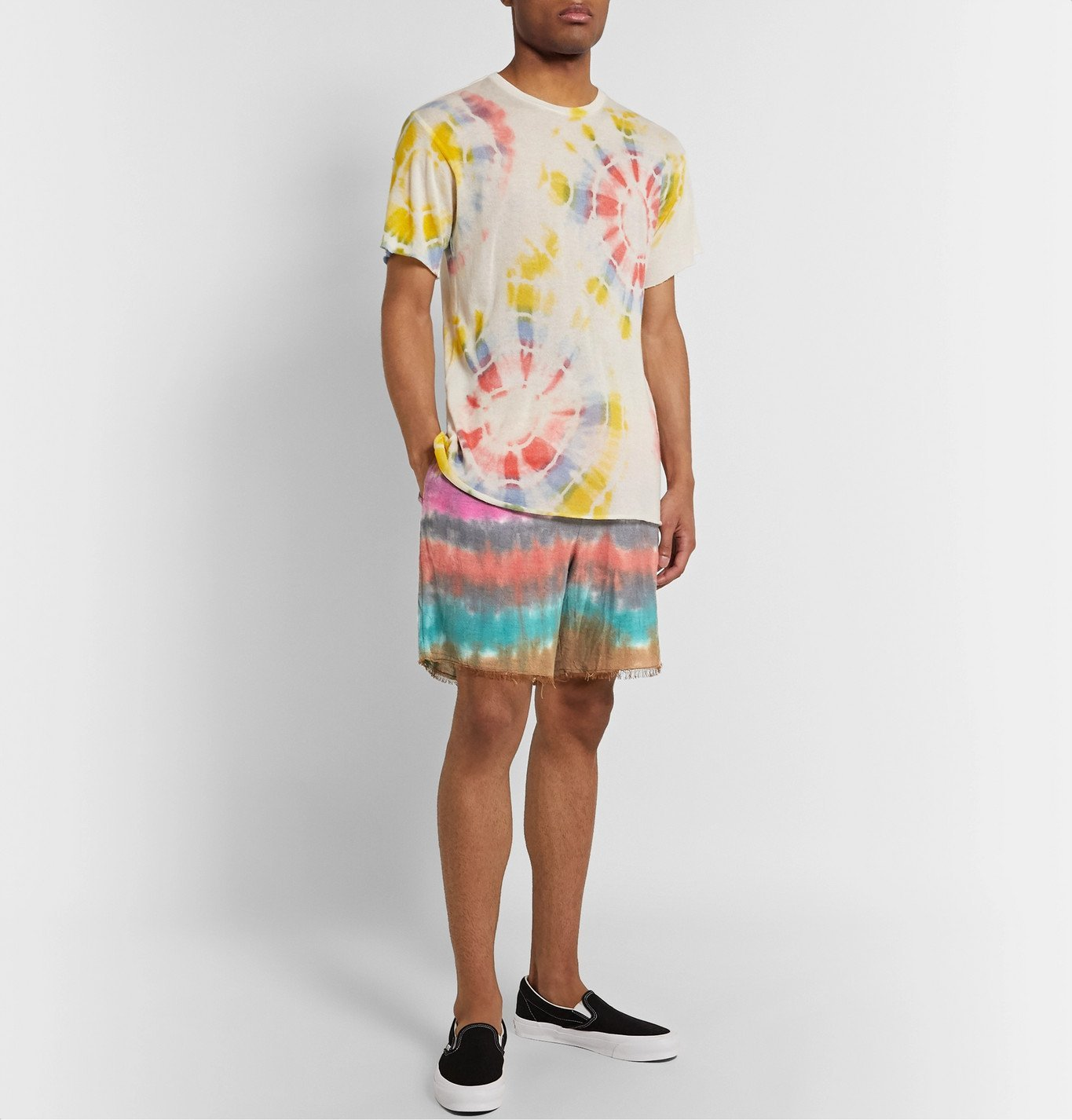 The Elder Statesman - Wacky Boomslang Tie-Dyed Wool, Cashmere and Cotton-Blend Drawstring Shorts - Orange