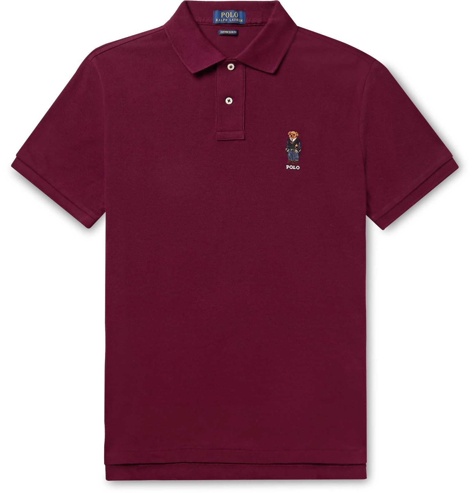 Photo: Polo Ralph Lauren - Slim-Fit Embroidered Cotton-Piqué Polo Shirt - Burgundy