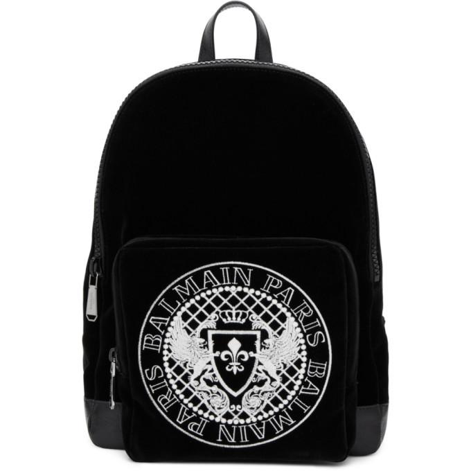 Photo: Balmain Black Velvet and Leather Beast Backpack