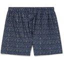 Sunspel - Printed Cotton Boxer Shorts - Men - Navy
