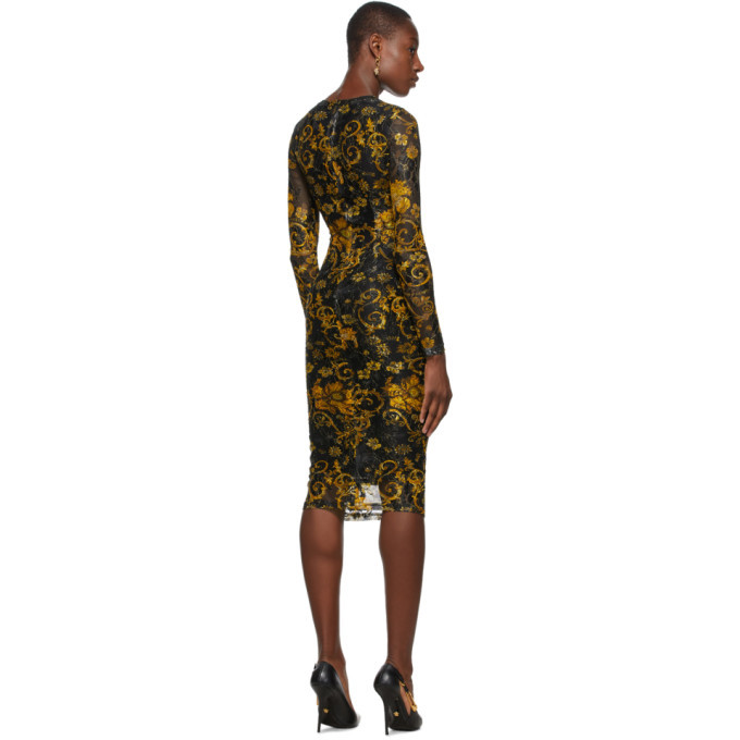Versace Jeans Couture Black and Gold Mesh Printed Dress