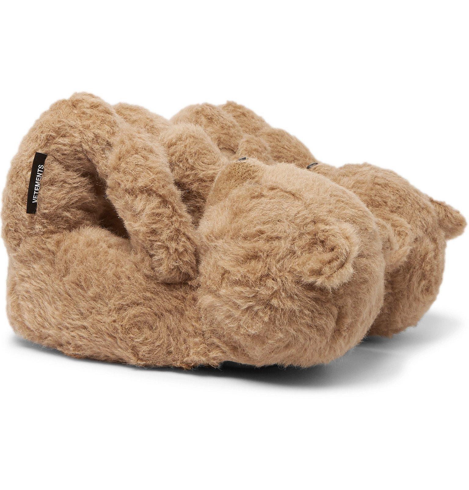Photo: Vetements - Hug Me Bear Cotton, Alpaca and Mohair-Blend Slippers - Neutrals