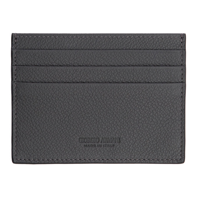 Photo: Giorgio Armani Grey Tumbled Leather Card Holder