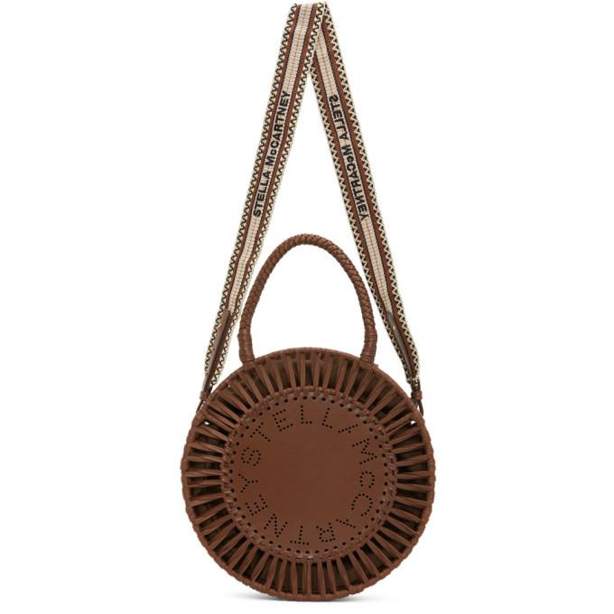 Stella McCartney Tan Alter Nappa Medium Round Woven Top Handle Bag