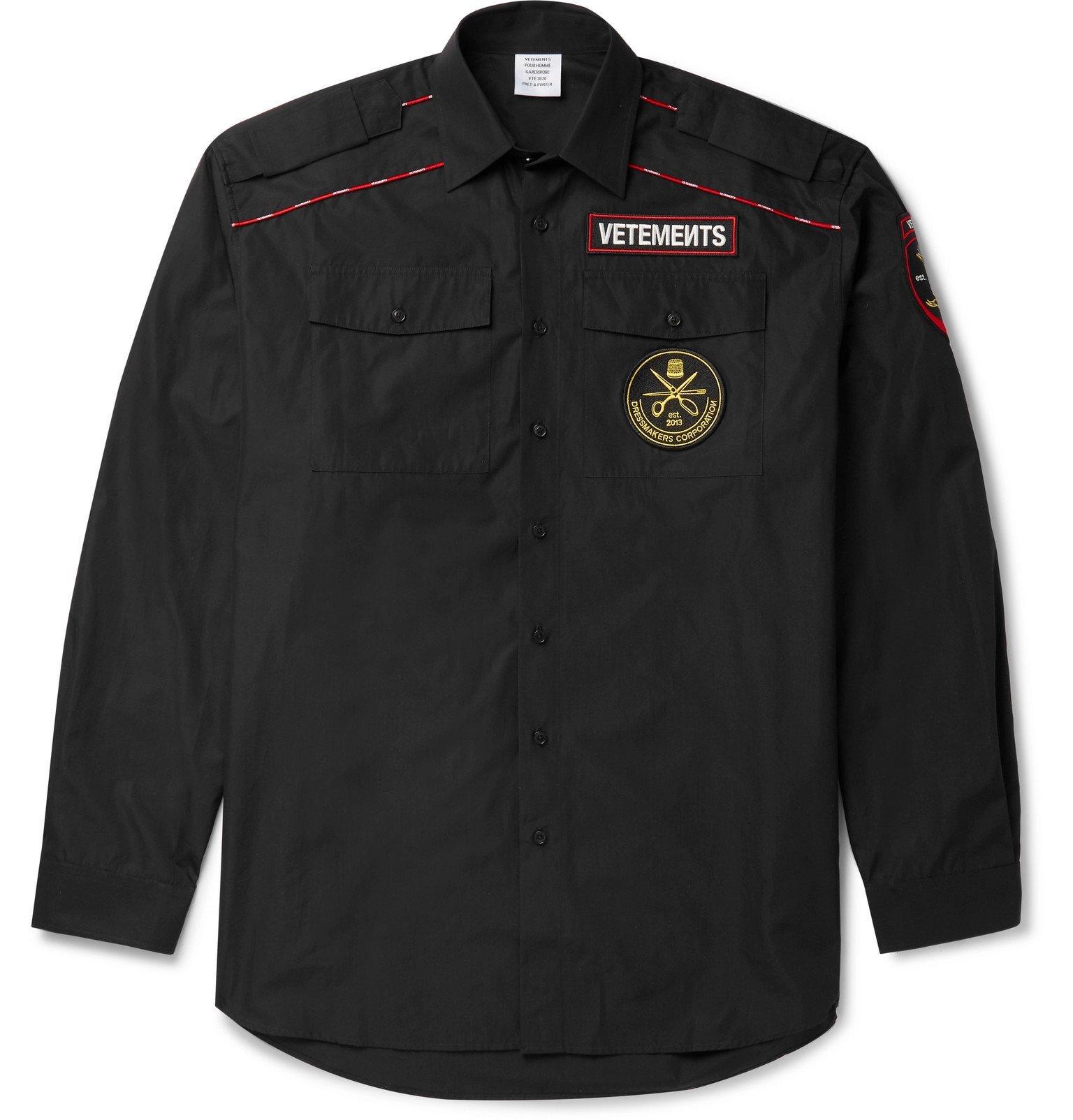 Photo: Vetements - Oversized Logo-Appliquéd Cotton-Poplin Shirt - Black