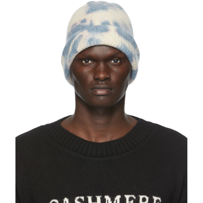 The Elder Statesman SSENSE Exclusive Blue and White Tie Dye Hot Watchman Beanie