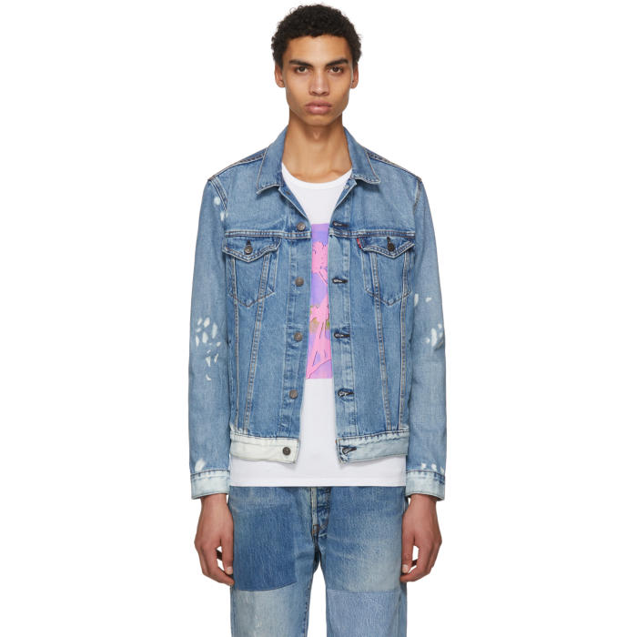Levis Blue And White Denim Trucker Jacket Levis