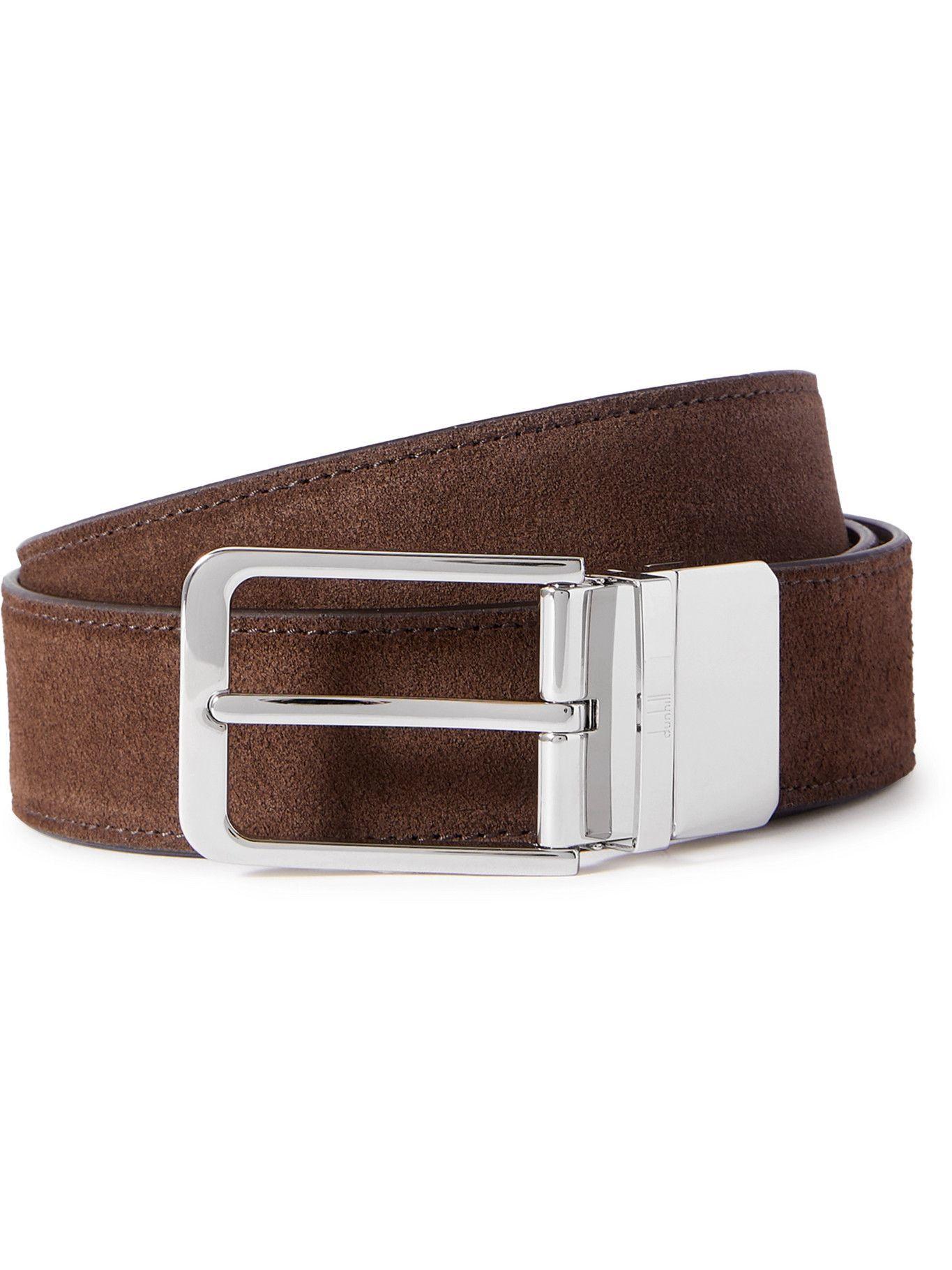 DUNHILL - 3.5cm Suede Belt - Brown
