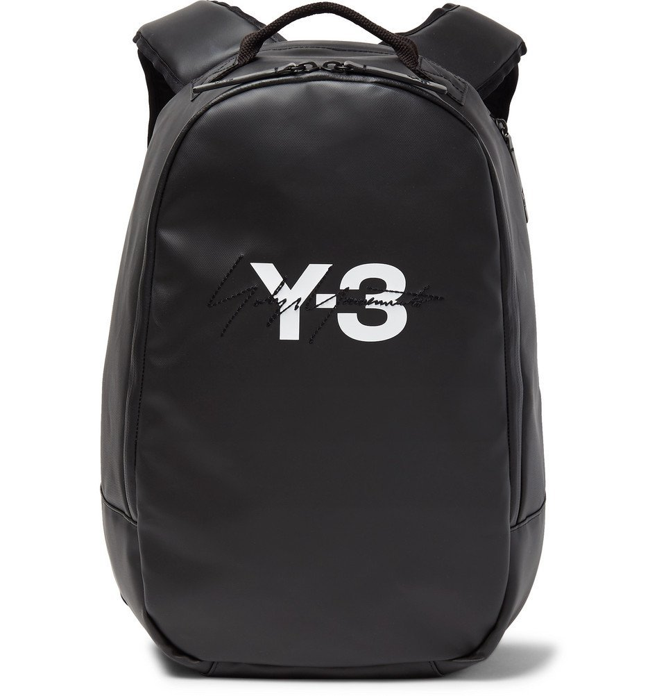 Y-3 - Embroidered Logo-Print Faux Leather Backpack - Black