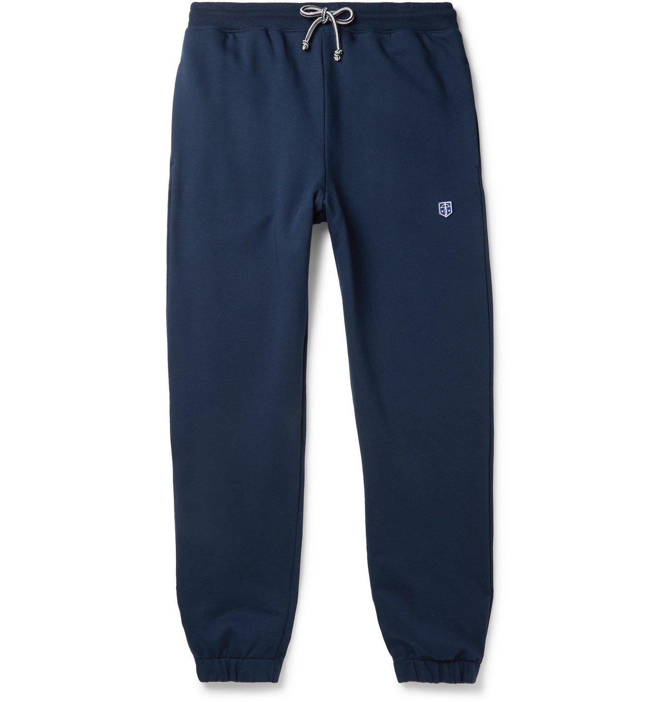 Photo: Schiesser - Vincent Tapered Logo-Appliquéd Fleece-Back Cotton-Jersey sweatpants - Blue