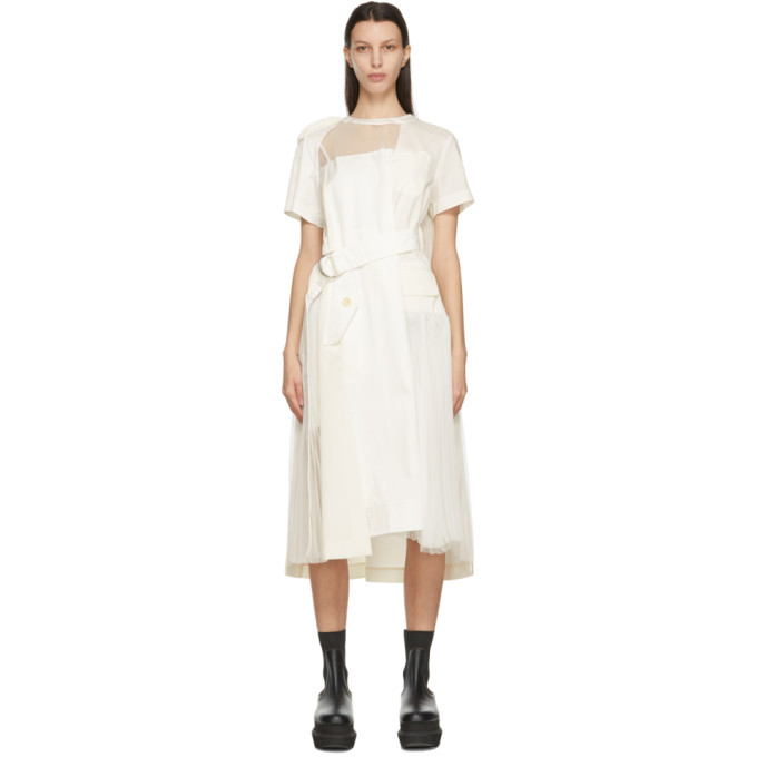 Sacai Off-White Sheer Neck Belted Dress