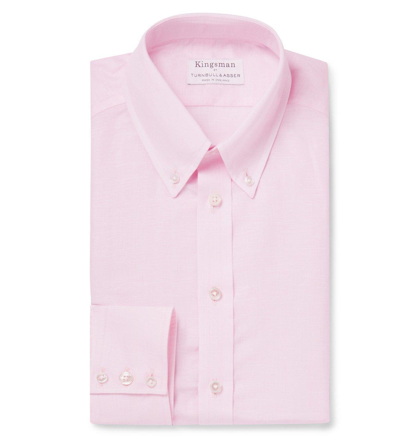 Photo: Kingsman - Turnbull & Asser Pink Slim-Fit Cotton and Linen-Blend Shirt - Pink