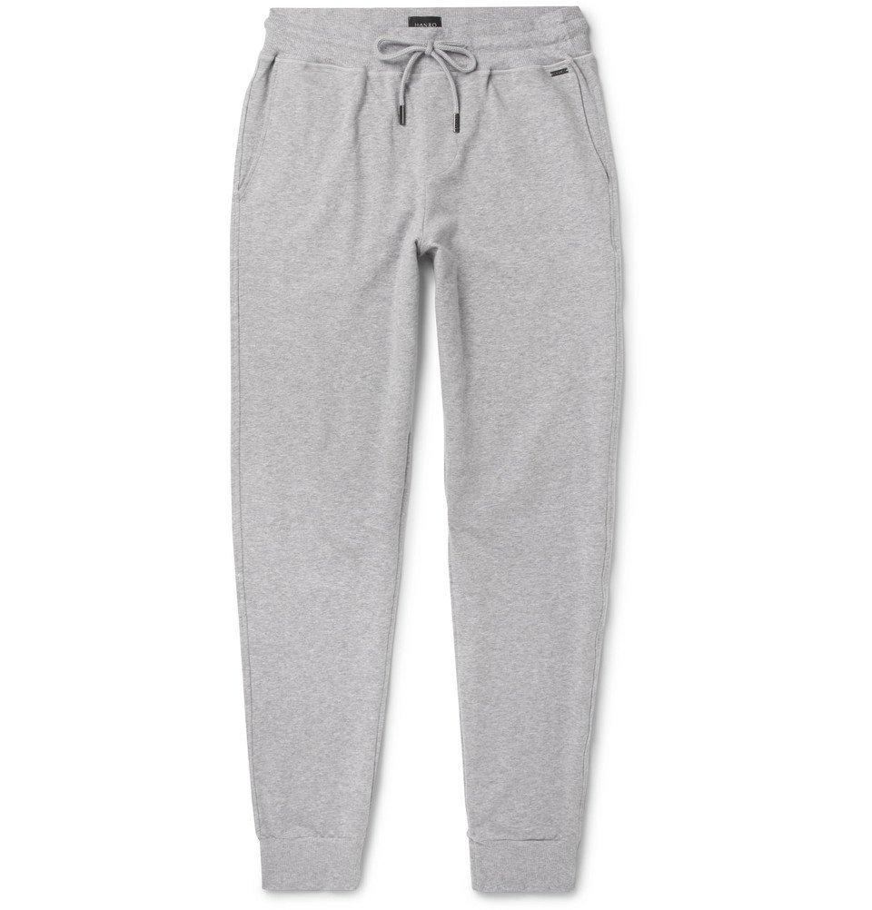 Hanro - Slim-Fit Tapered Mélange Stretch-Cotton Jersey Sweatpants - Men - Gray