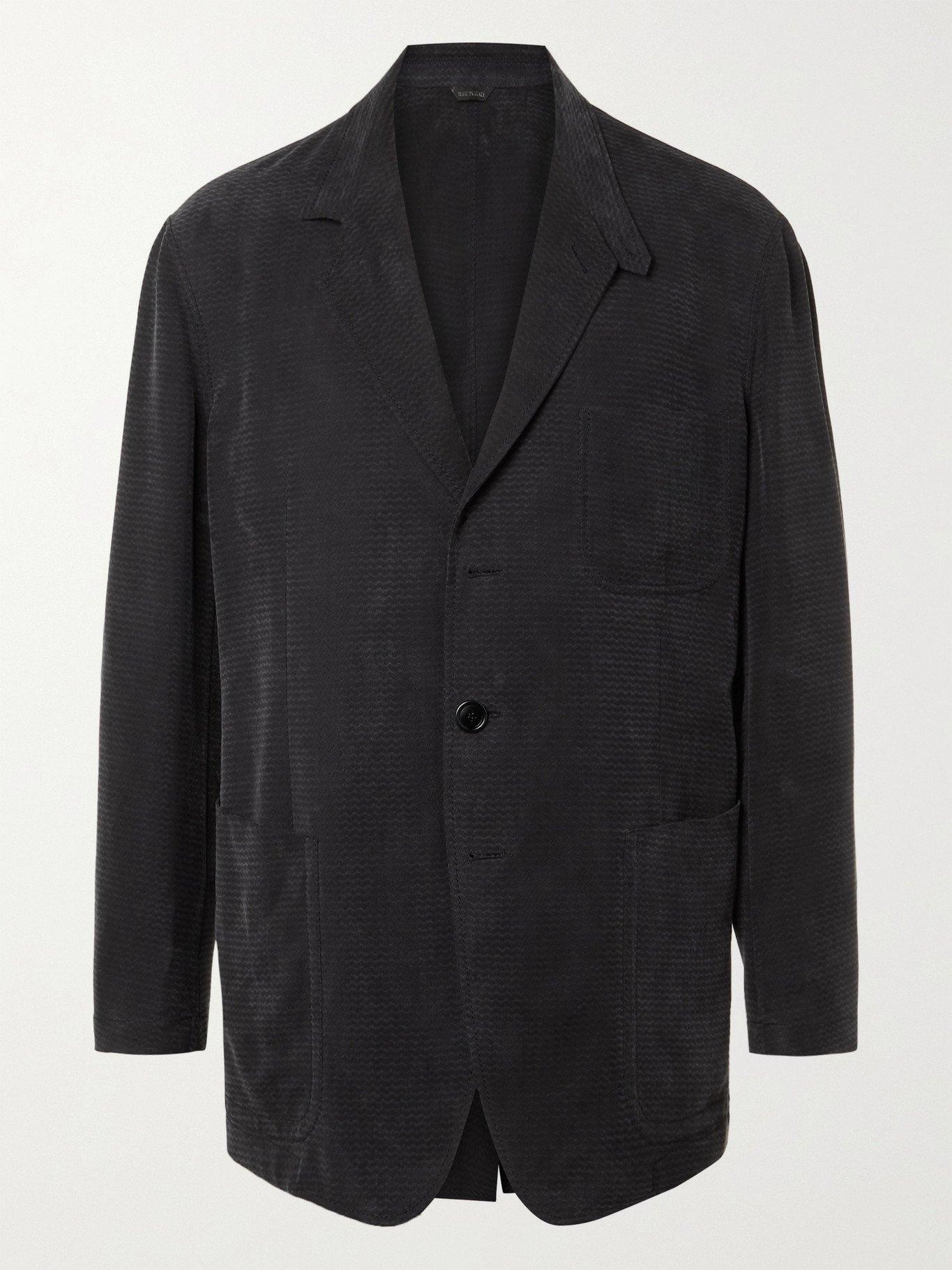 GIORGIO ARMANI - Unstructured Herringbone-Jacquard Suit Jacket - Blue - IT 46