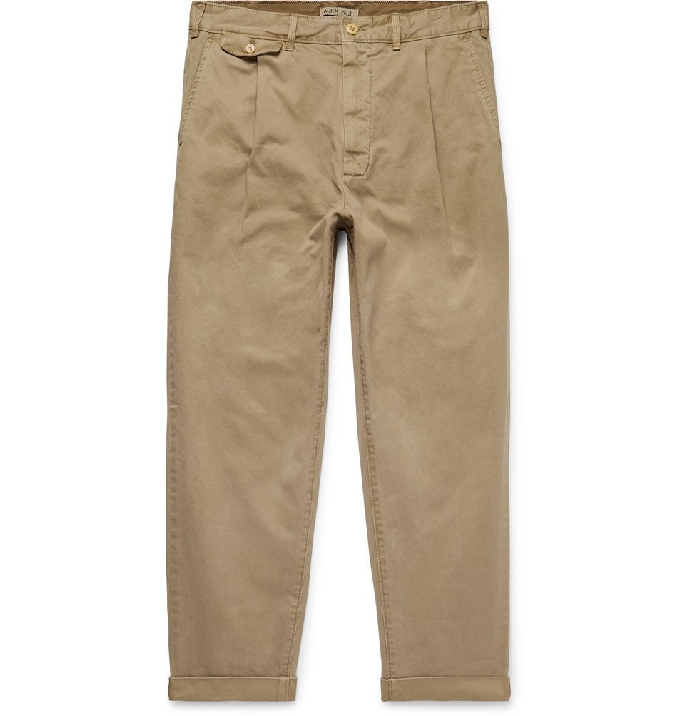 Photo: Alex Mill - Tapered Pleated Cotton-Blend Twill Trousers - Tan