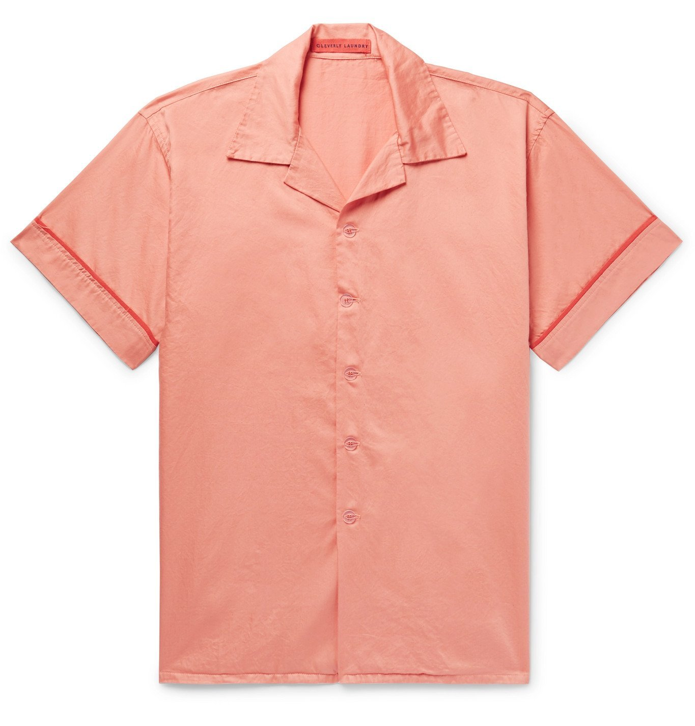 Photo: Cleverly Laundry - Piped Garment-Dyed Washed-Cotton Pyjama Shirt - Pink