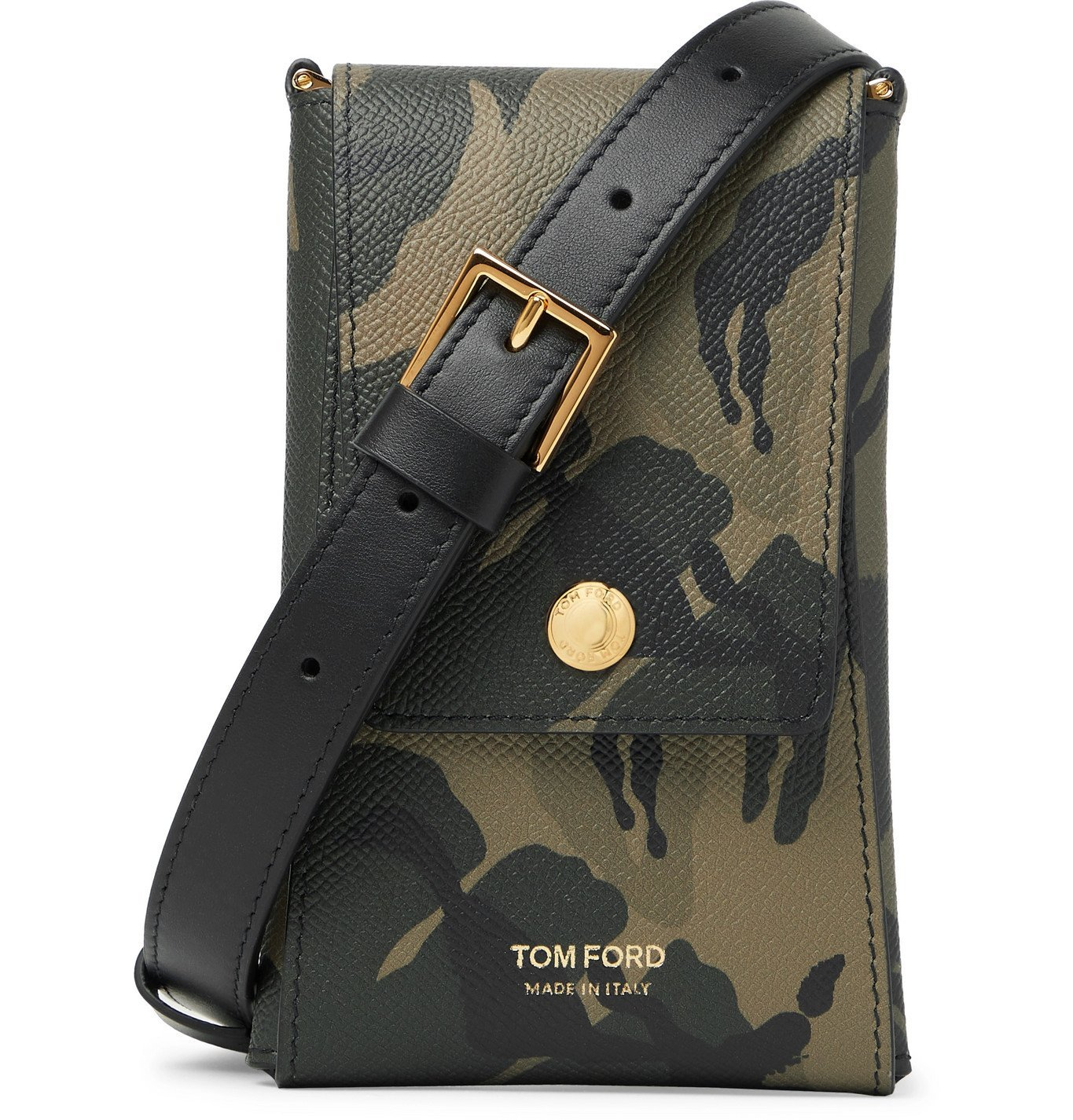 Photo: TOM FORD - Camouflage-Print Full-Grain Leather Messenger Bag - Gray