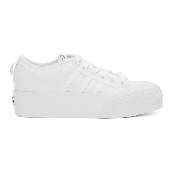 adidas Originals White Nizza Platform Sneakers
