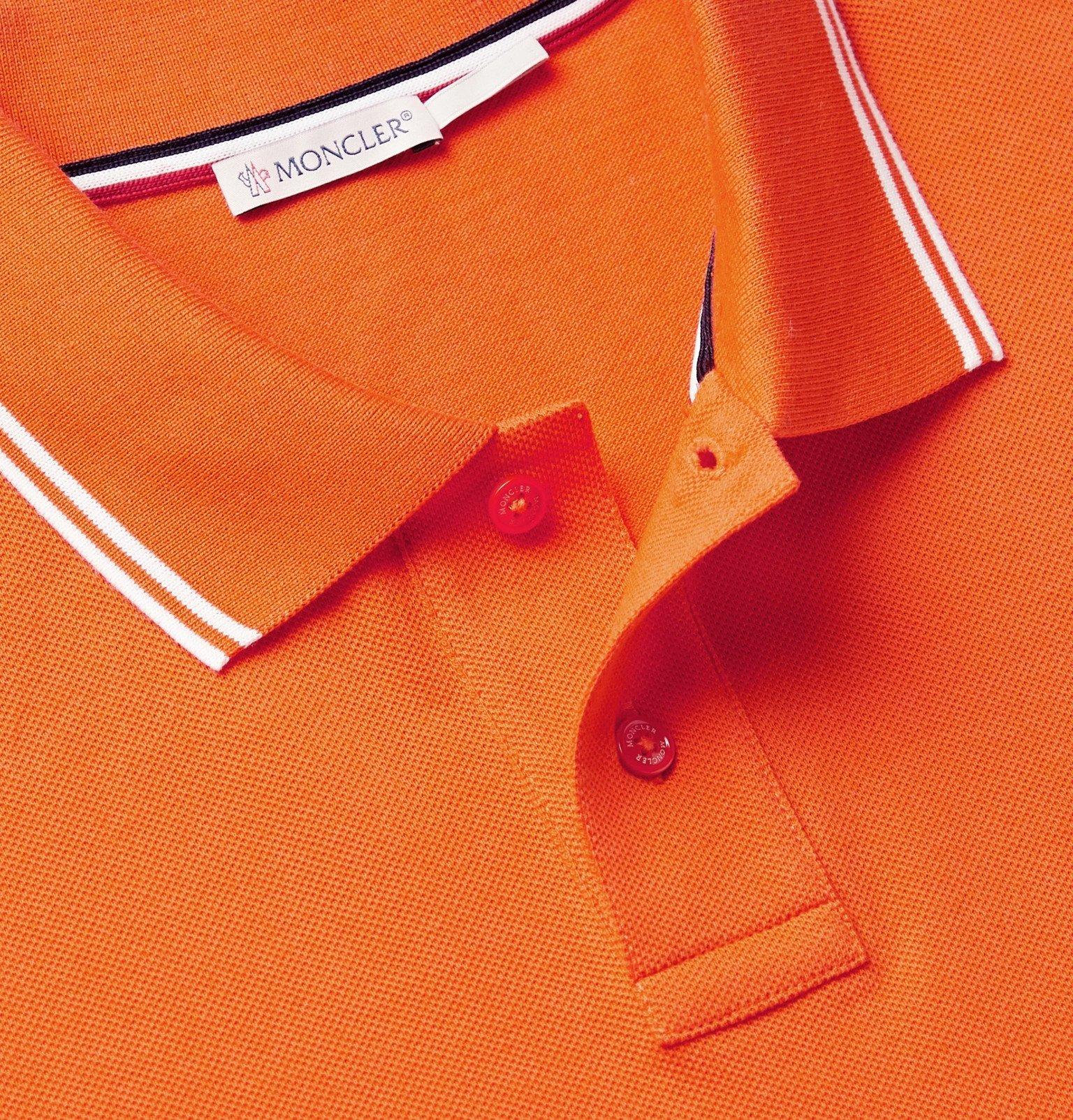 Moncler - Contrast-Tipped Cotton-Piqué Polo Shirt - Orange