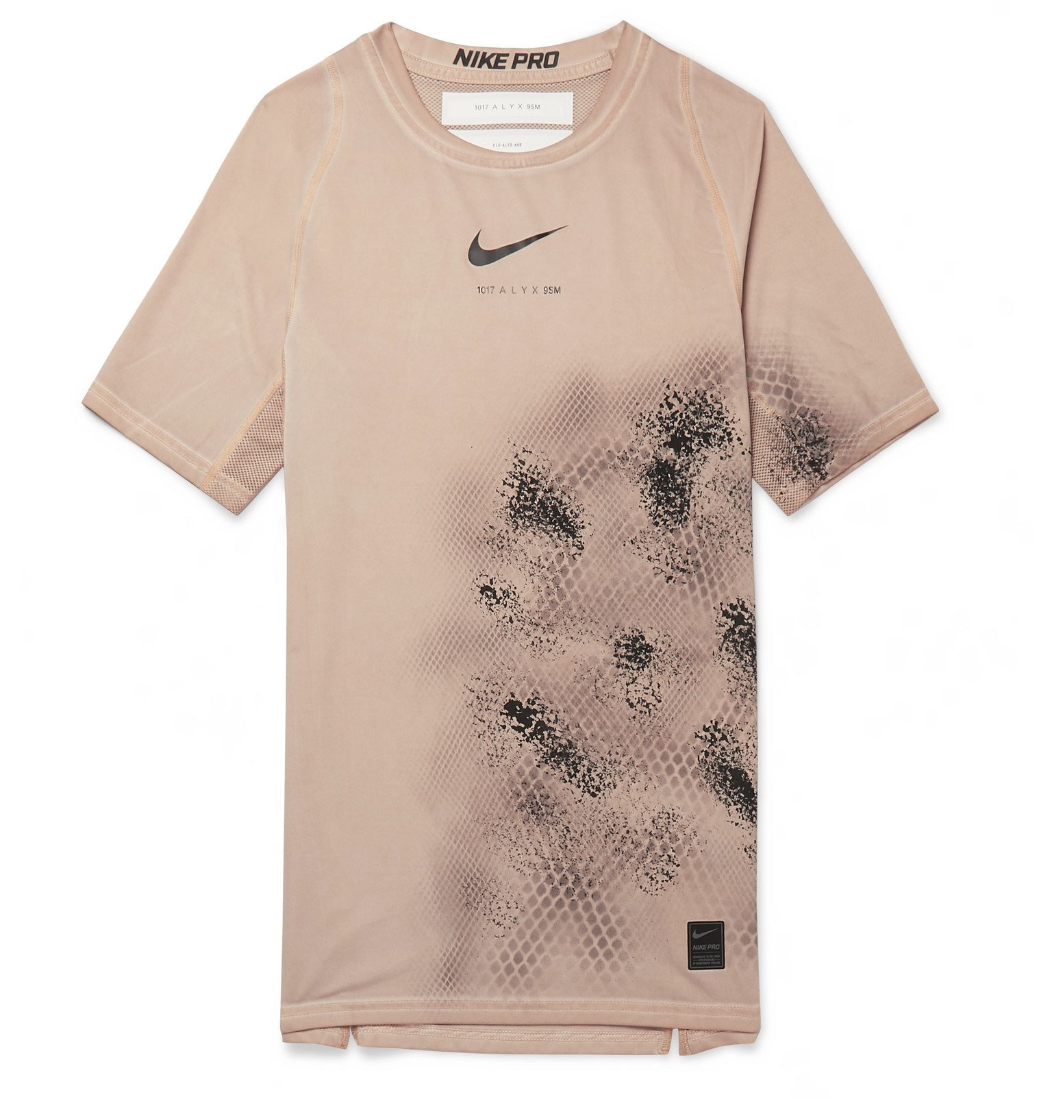 1017 ALYX 9SM - Nike Compression Printed Mesh-Panelled Stretch-Jersey T-Shirt - Neutrals