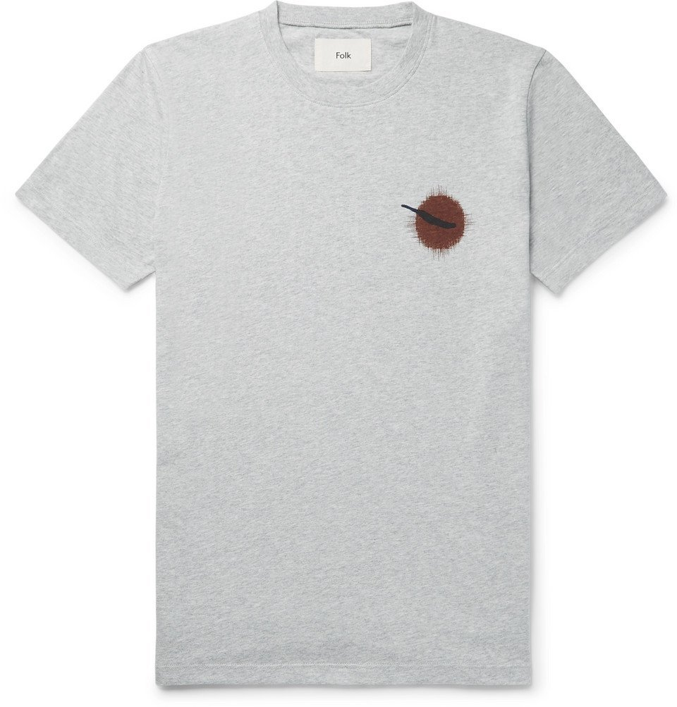 Photo: Folk - Printed Cotton-Jersey T-Shirt - Gray