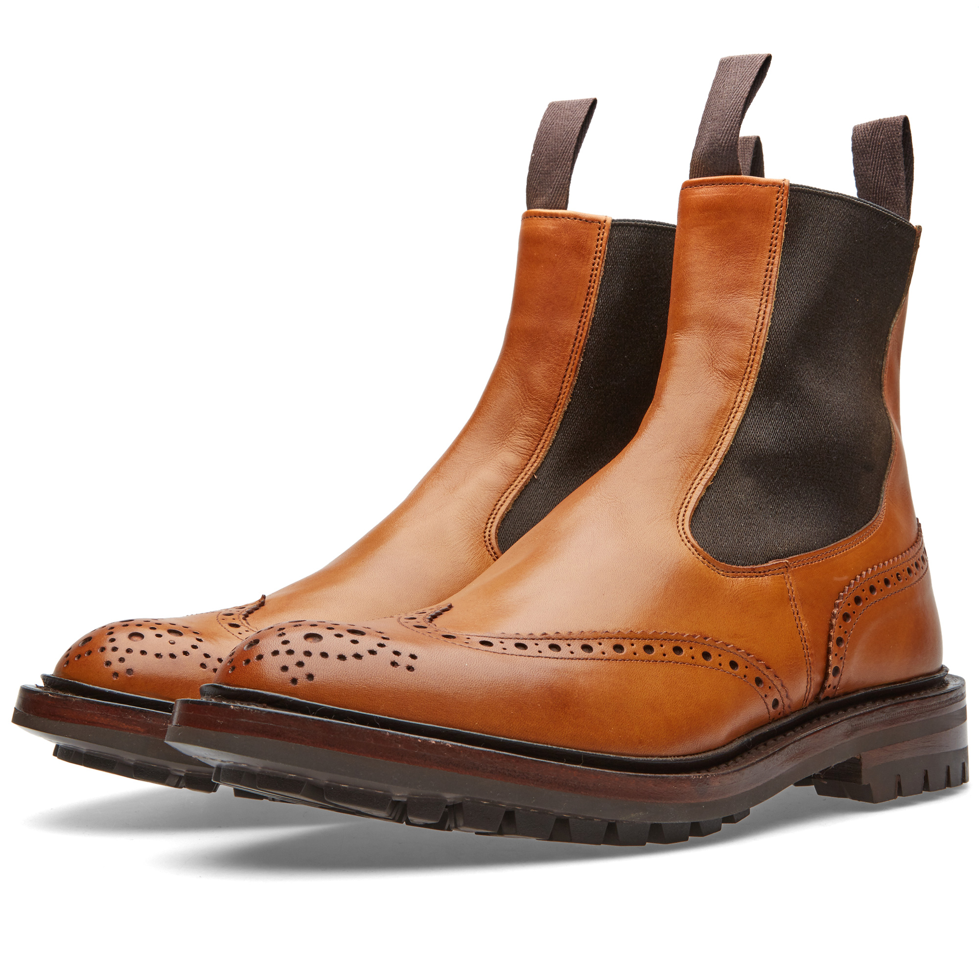 Photo: Tricker's Henry Brogue Chelsea Boot Brown