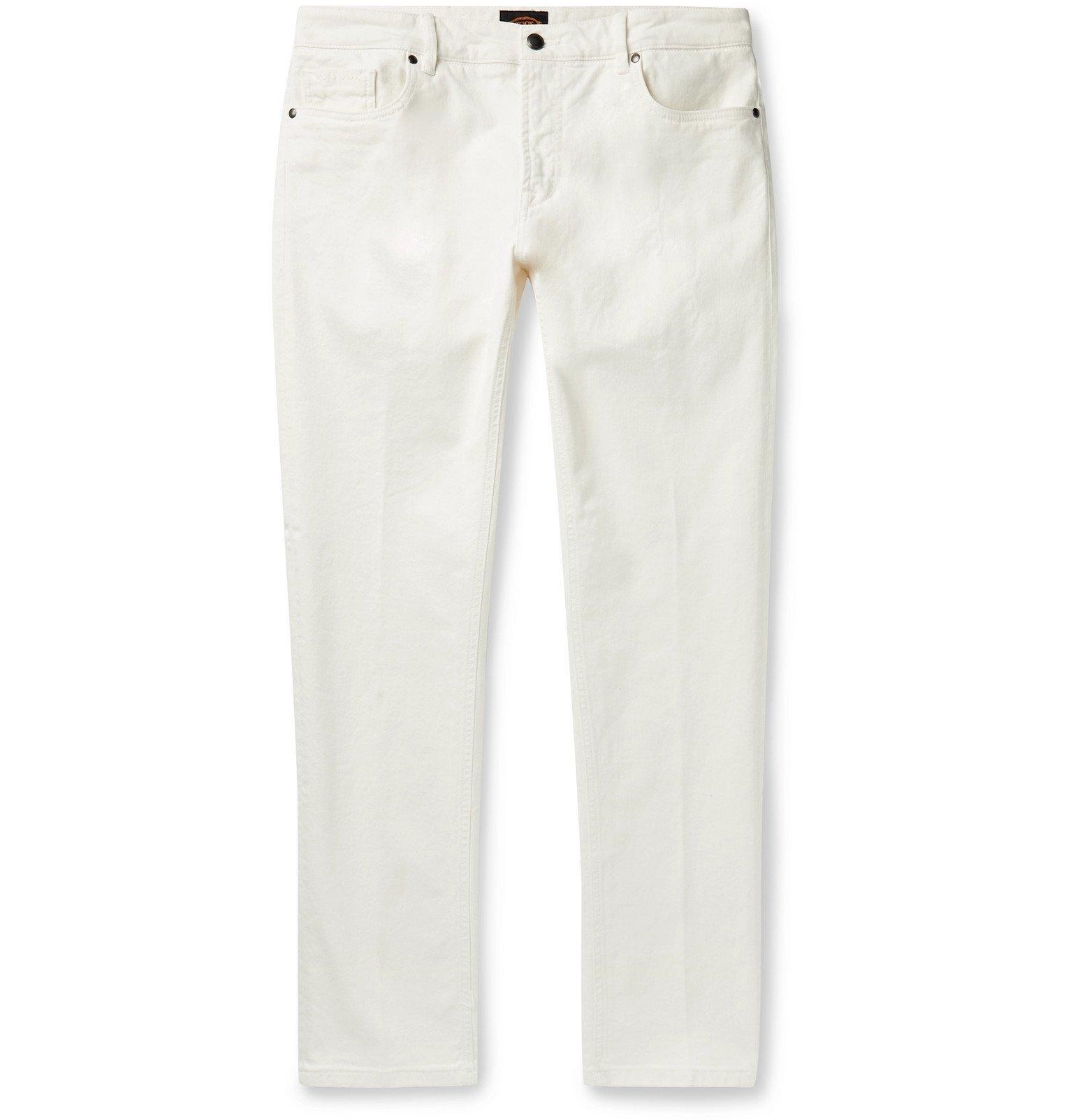 Tod's - Slim-Fit Stretch-Denim Jeans - White