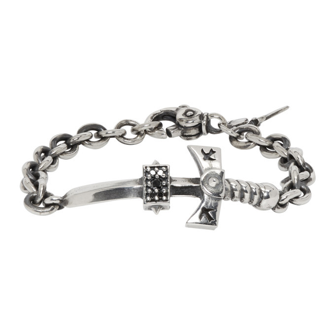Photo: Luka Sabbat x Monini Silver and Black Diamond Sword Bracelet