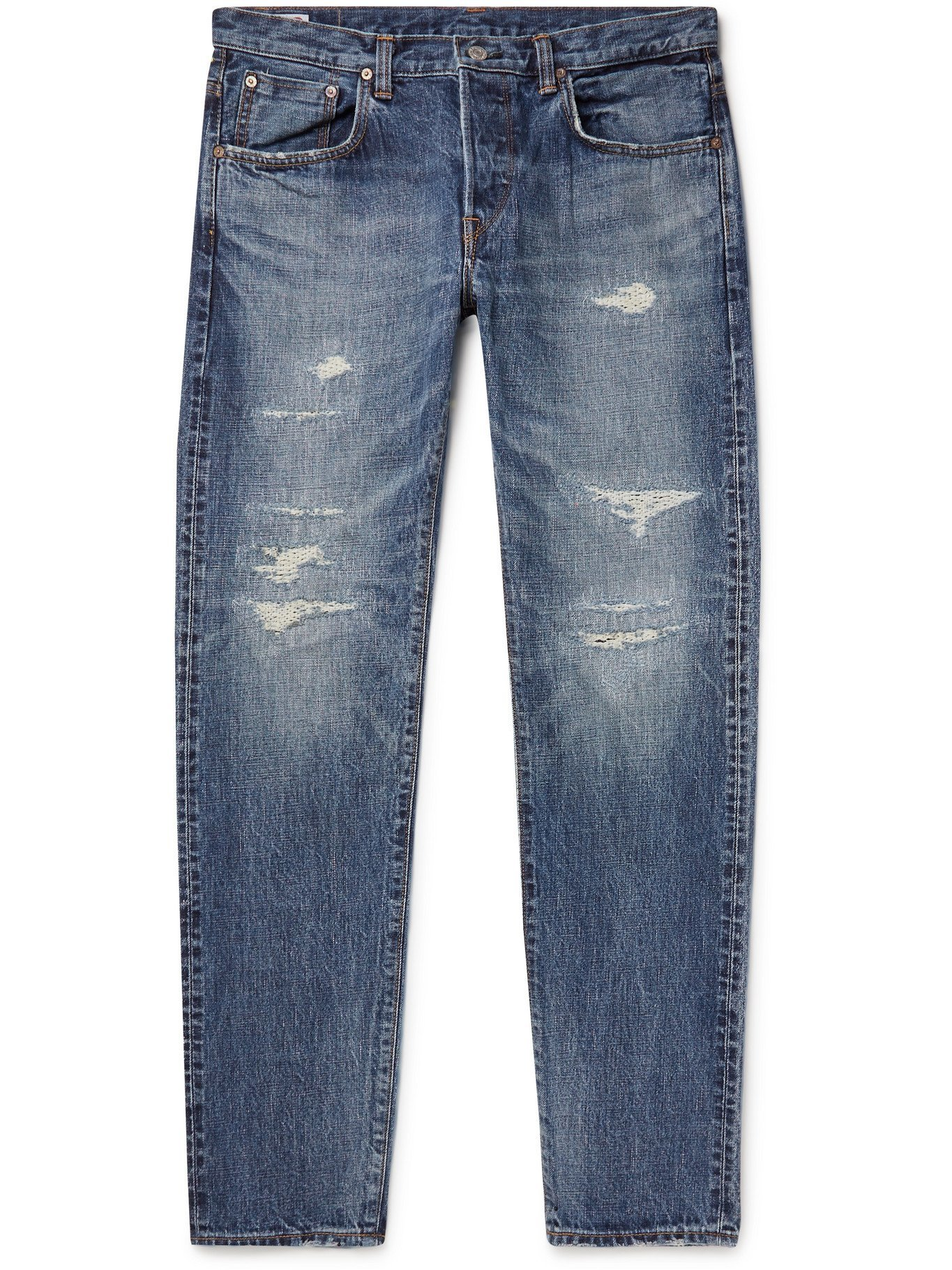 Photo: EDWIN - Tapered Distressed Selvedge Denim Jeans - Blue