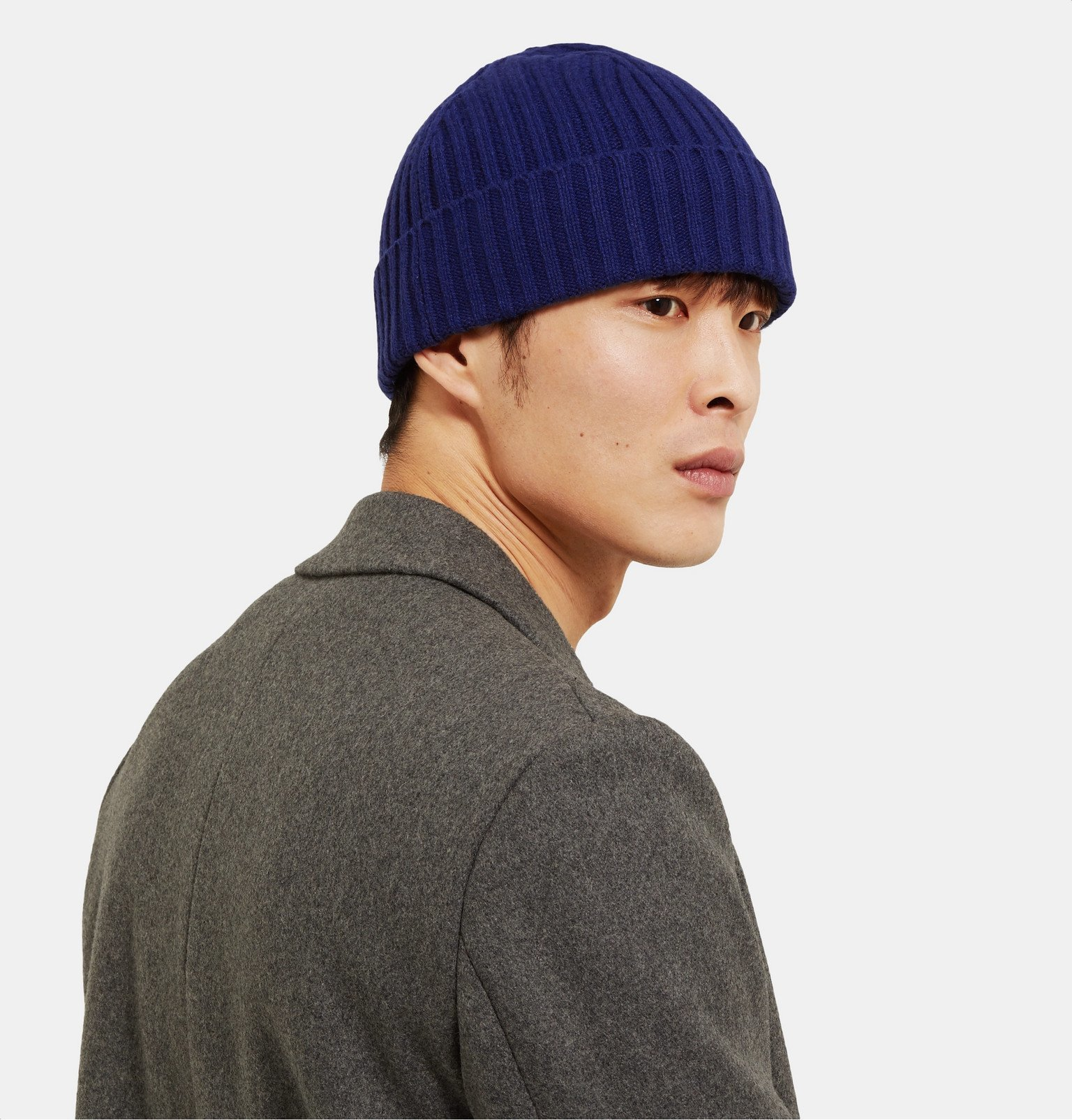 Officine Generale - Ribbed Cashmere and Wool-Blend Beanie - Blue
