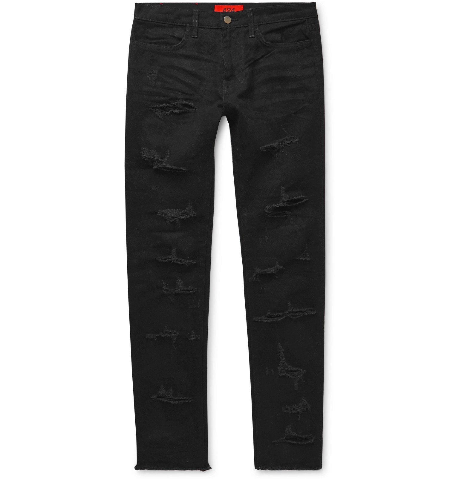 Photo: 424 - Skinny-Fit Distressed Denim Jeans - Black