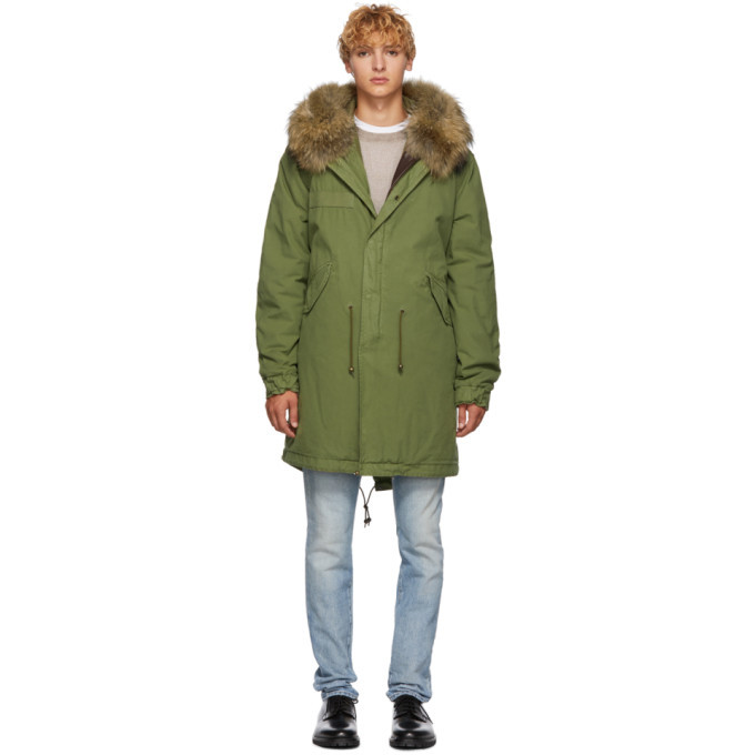 Photo: Mr and Mrs Italy Green and Brown Long Fur Parka