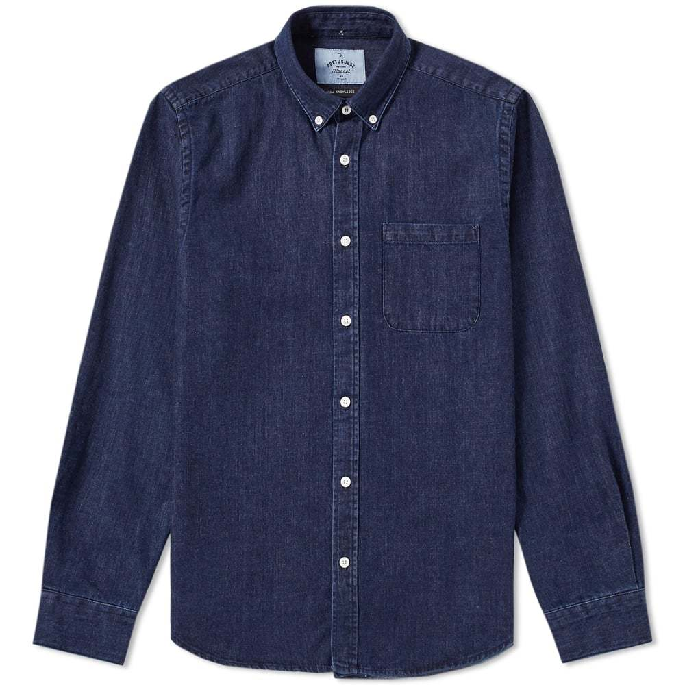 Photo: Portuguese Flannel Ganga Button Down Denim Shirt Blue