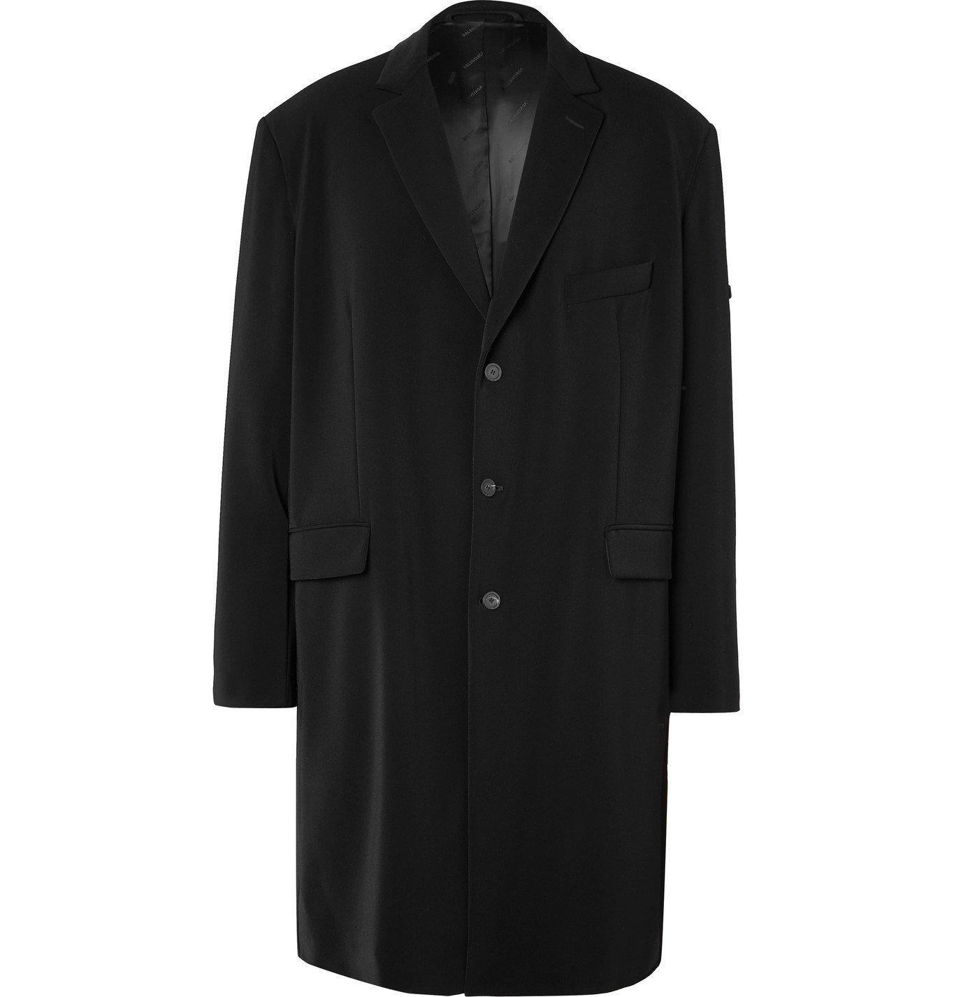 Photo: Balenciaga - Oversized Logo-Appliquéd Crepe Coat - Black