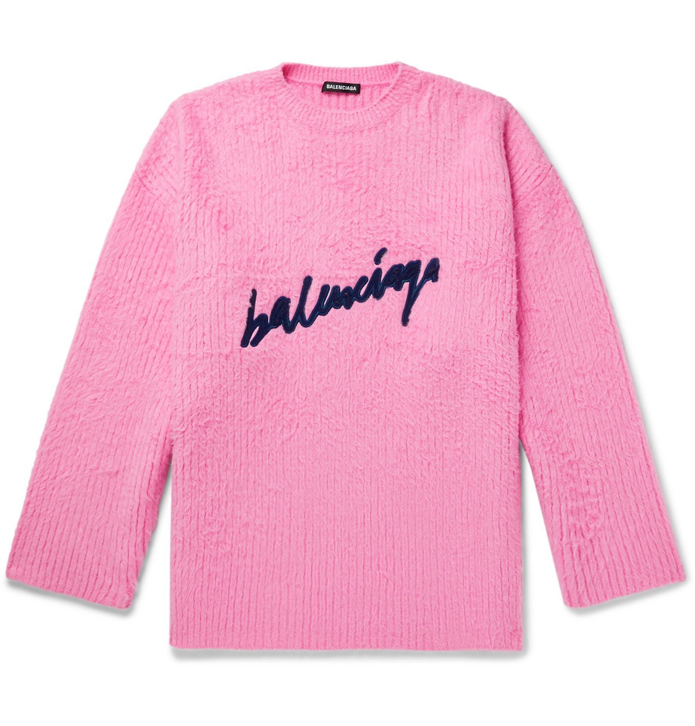 Photo: Balenciaga - Oversized Logo-Embroidered Brushed Cotton-Blend Sweater - Pink