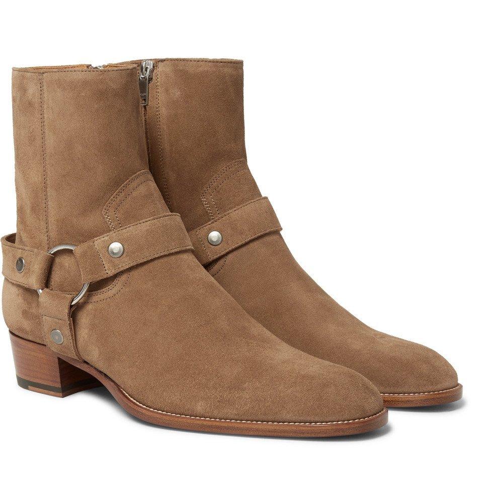 Photo: Saint Laurent - Wyatt Suede Harness Boots - Tan