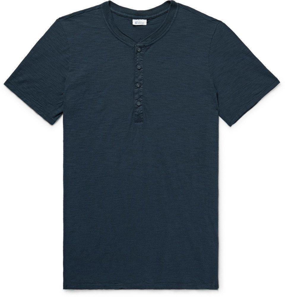 Schiesser - Hanno Slub Cotton-Jersey Henley T-Shirt - Men - Storm blue