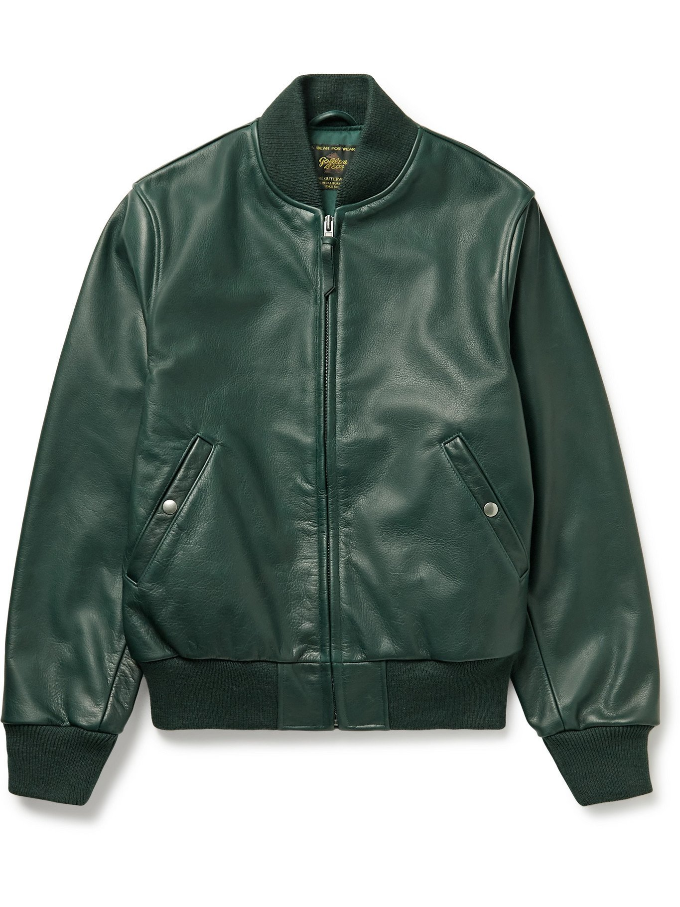 Photo: GOLDEN BEAR - Leather Bomber Jacket - Green - XS