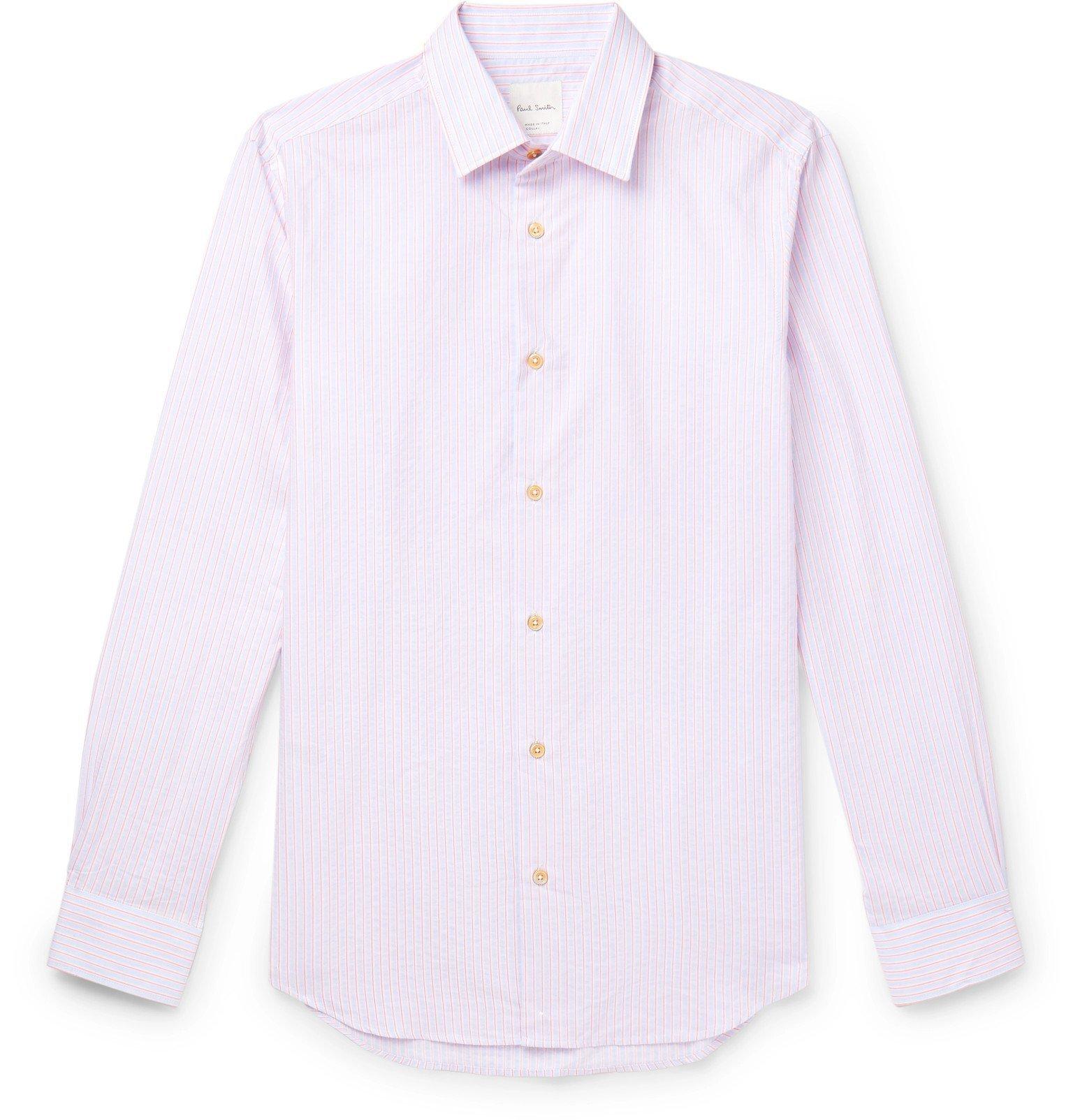 Photo: Paul Smith - Soho Slim-Fit Striped Cotton-Poplin Shirt - Pink