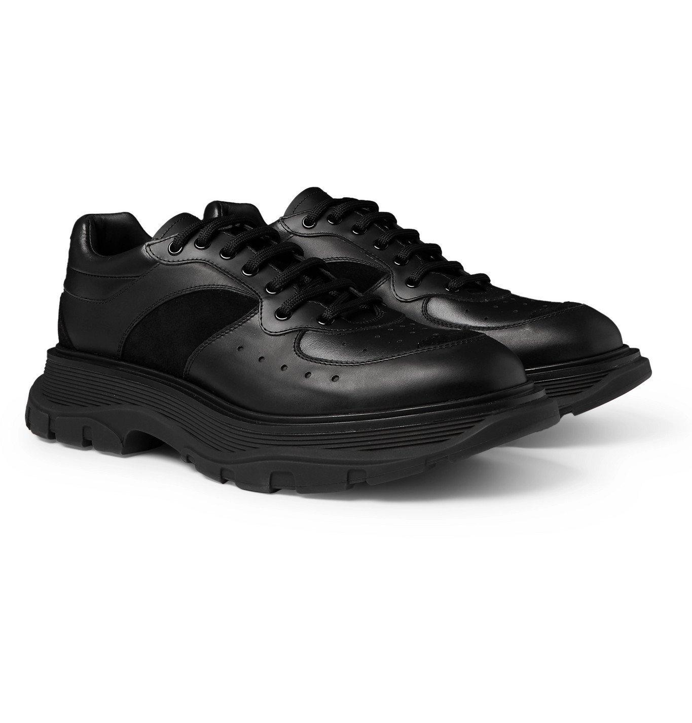 Photo: Alexander McQueen - Tread Slick Suede-Trimmed Leather Sneakers - Black